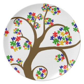 Árbol del autismo de la vida plato para fiesta