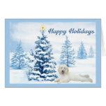 Árbol del azul de la tarjeta de Navidad del canich