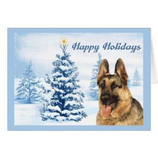 Árbol del azul de la tarjeta de Navidad del pastor