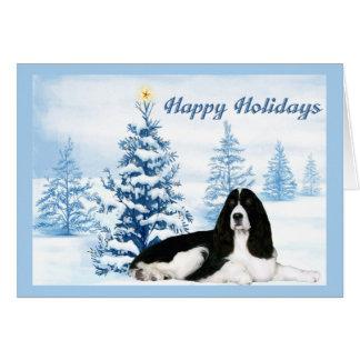Árbol del azul de la tarjeta de Navidad del perro