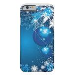 Árbol del azul del ornamento de los copos de nieve funda de iPhone 6 barely there