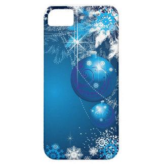 Árbol del azul del ornamento de los copos de nieve funda para iPhone 5 barely there