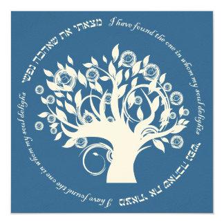 Árbol del azul hebreo del boda judío de la vida invitaciones personales