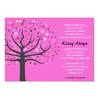 Árbol del bebé judío de la vida que nombra la invitaciones personalizada