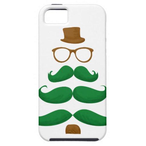 Árbol del bigote del navidad iPhone 5 protectores