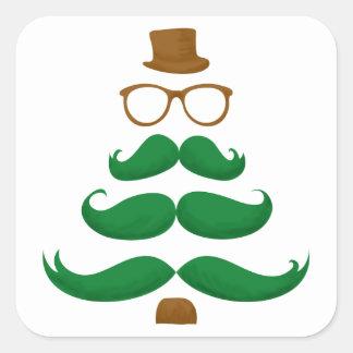 Árbol del bigote del navidad pegatina cuadrada