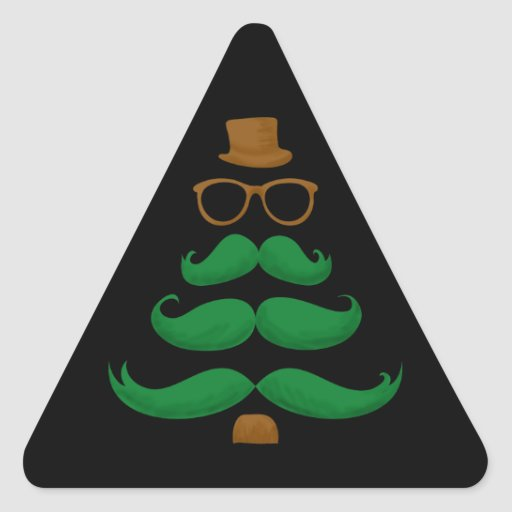 Árbol del bigote del navidad pegatina triangular