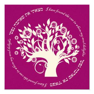 """Árbol del boda judío hebreo de la vida rosado invitación 5.25"""" x 5.25"""""""