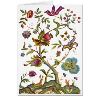 Árbol del bordado jacobeo de la vida tarjeta de felicitación