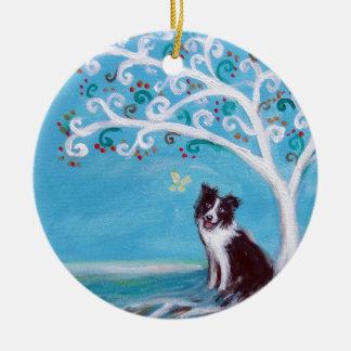 Árbol del border collie de la vida adorno navideño redondo de cerámica