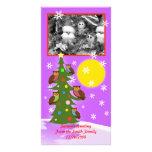 Árbol del búho del navidad tarjeta fotografica