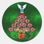 Árbol del buñuelo pegatina redonda