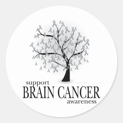 Árbol del cáncer de cerebro pegatina redonda