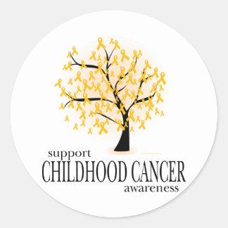 Árbol del cáncer de la niñez pegatinas redondas