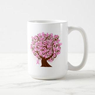 Árbol del cáncer de pecho de cintas taza básica blanca