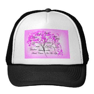 árbol del cáncer de pecho para la vida gorras de camionero
