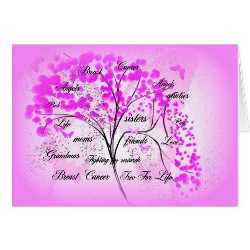 árbol del cáncer de pecho para la vida tarjeta de felicitación