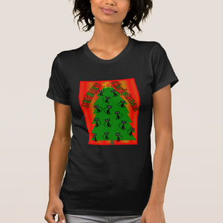 ÁRBOL del CAT de las Felices Navidad T Shirts