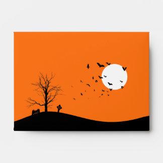 Árbol del cementerio A6 y sobres de Halloween de