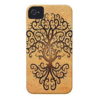 Árbol del Clef agudo, marrón Case-Mate iPhone 4 Carcasas