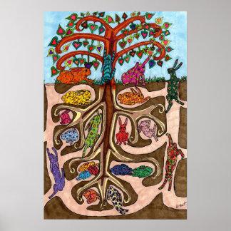 Árbol del conejito de Oaxacan de la vida Poster