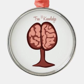 Árbol del conocimiento adorno redondo plateado