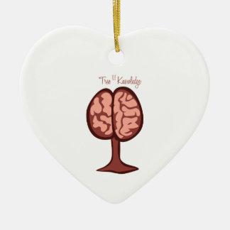 Árbol del conocimiento adorno de cerámica en forma de corazón
