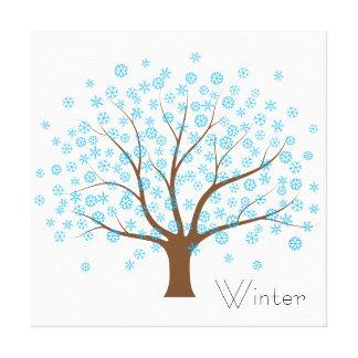 Árbol del copo de nieve del invierno lona envuelta para galerias