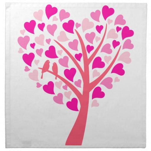 Árbol del corazón con los pájaros del amor para ca servilletas