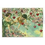 Árbol del corazón de los Cupids del Victorian del Tarjeta