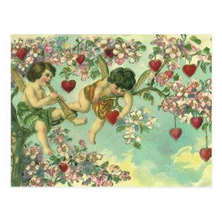 Árbol del corazón de los Cupids del Victorian del Tarjeta Postal