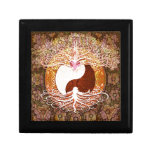 Árbol del corazón de Ying Yang de la vida Joyero Cuadrado Pequeño