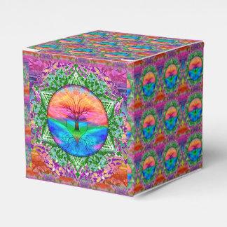 Árbol del corazón del arco iris cajas para detalles de boda