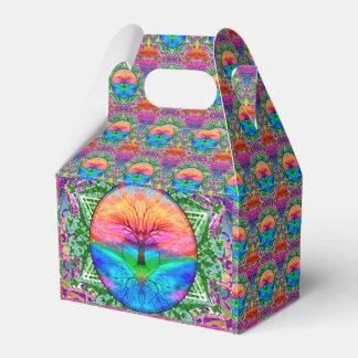 Árbol del corazón del arco iris cajas para regalos de boda