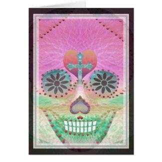 Árbol del corazón del arco iris del cráneo del tarjeta de felicitación