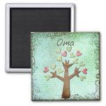 árbol del corazón del oma imán de frigorífico
