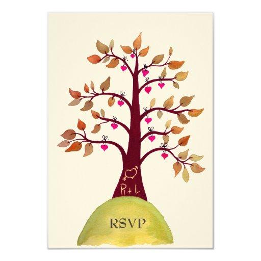 """Árbol del corazón del otoño/de la caída de RSVP Invitación 3.5"""" X 5"""""""