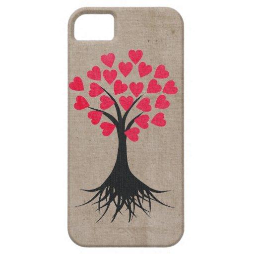 Árbol del corazón iPhone 5 cárcasa