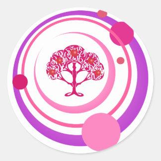 Árbol del cumplimiento del deseo pegatina redonda