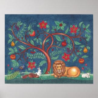 Árbol del ~ del poster de la vida el león y el cor