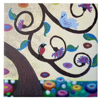 Árbol del detalle de la vida azulejo cuadrado grande