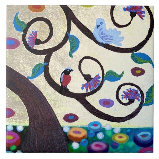 Árbol del detalle de la vida azulejos cerámicos