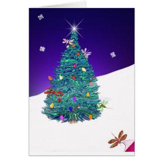 árbol del día de fiesta de la libélula tarjeta de felicitación
