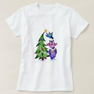 Árbol del día de fiesta de los búhos del navidad playeras