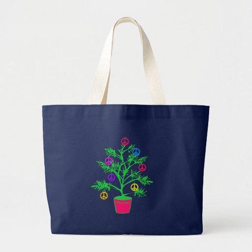 Árbol del día de fiesta del árbol de la paz con sí bolsas de mano