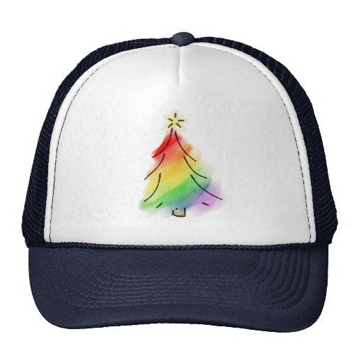 Árbol del día de fiesta del arco iris gorras de camionero
