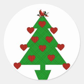 Árbol del día de fiesta del corazón etiqueta redonda