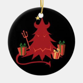 Árbol del día de fiesta del diablo adorno navideño redondo de cerámica