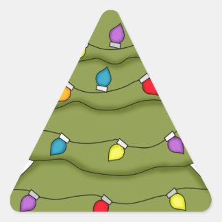 Árbol del día de fiesta del navidad calcomanías triangulos personalizadas