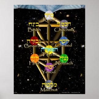 Árbol del diagrama de la vida con hebreo e inglés póster